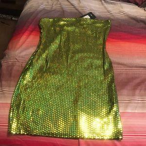 Neon green metallic dress Size Large Brand new